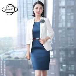 de1f645fa69 YAUAMDB women dress suits 2018 spring autumn S-4XL polyester female clothing  set blazer+dress 2pcs appliques ladies clothes 133