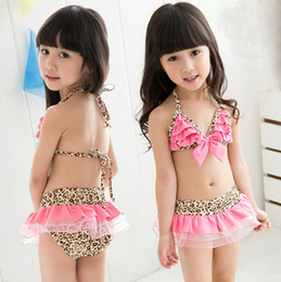 Wholesale Girls Baby Swimming Costumes - Baby Rompers Swimwear Girls Swimsuit with hat Costume Leopard strip Swim Suit Beachwear Swimming Bathing Suits