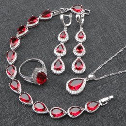 Wholesale silver costume jewelry sets - whole saleRed Zircon Costume Silver 925 Jewelry Sets Women Bracelets Earrings With Stones Pendant&Necklace Rings Set Jewelery Gift Box