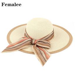 FEMALEE Colorful Women Summer Ribbon Boater Bow Tie Vacation Outdoor  Seaside Casual Hat Leisure Travel Sun Visor Beach Cap Boho 07917dd371b1
