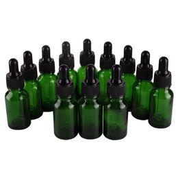 Wholesale green glass dropper bottles 15ml - 12pcs 15ml Green Glass Dropper Bottles with Pipette for essential oils aromatherapy lab chemicals