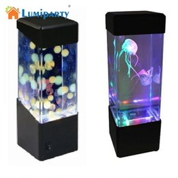 Wholesale Jellyfish Lighting - Lumiparty New LED Desktop Light Jellyfish Fish Aquarium Tank LED Light Relaxing Bedside Mood Night Lamp