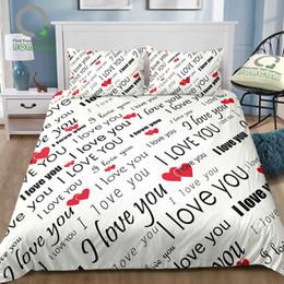 2019 romantische duvetsets BOMCOM Romantic Bettbezug Set Ich liebe dich Zitat mit Herzen Romantik Paar Valentine Plain Hintergrund 100% Mikrofaser rabatt romantische duvetsets