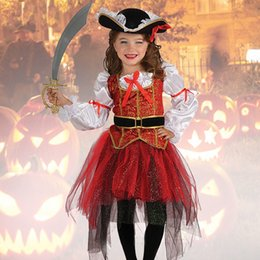 clothing for pirates Coupons - 2018 New Halloween Christmas Gift Pirate Costumes Girls Party Cosplay Costume for Children Kids Clothes Performance Kindergarten