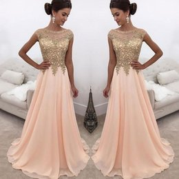 Wholesale dark peach prom dress - 2018 Modest Peach Prom Dresses Sheer Neck Gold Appliques Beads Cap Sleeve A Line Long Evening Party Special Occasion Gowns Cheap Customized