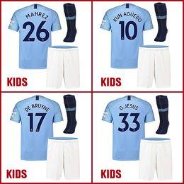 Wholesale man city football kit - 2018 2019 city kids kits MAHREZ De Bruyne soccer jersey 18 19 KUN AGUERO football shirt JESUS BERNARDO Camiseta MAN child SANE maillot foot