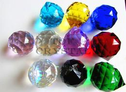 ornamenti di vetro di vetro Sconti 2 Pz 40mm Lampadario Sfera di Cristallo Sfaccettato Sfera Prismi Suncatcher / Fengshui Spedizione Gratuita (11 colori scelgono)