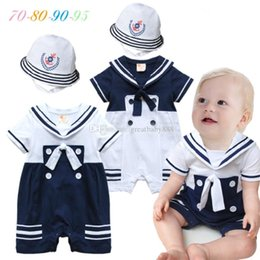 Wholesale baby rompers navy - Baby boys navy Rompers Summer Infant Jumpsuits cotton Short sleeved toddler Climbing clothes with hat C2780