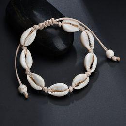 Bangles black girls en Ligne-3 PCS Noir Blanc Boho Naturel Filles Coquillages Charme Bracelets pour Femmes Plage Bijoux À La Main Corde Bracelets Bracelets Bijoux Cadeau
