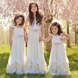 Wholesale Pretty Pictures Flowers - Pretty Backless Chiffon Little Flower Girls Dresses For Summer Boho Wedding Sleeveless First Communion Dress Floor Length Girl Pageant Gowns