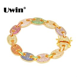 Cadena de grasa online-Uwin Hiphop 13 mm Puffed Marine Chain Fat Links Pulsera Hombres Micro Pave Rainbow Colored Cubic Zirconia Silver / Gold Color Jewelry