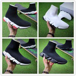 Sapatos de malha originais on-line-Frete grátis Qualidade original +2018 quente Velocidade stretch-knit Mid tenis mulheres homens Sapatos casuais sapatos Velocidade treino malha Mid black