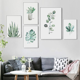 Wholesale canvas painting vases - Watercolor Vase Green Plant Canvas Painting Art print Poster Picture Wall Modern Minimalist Bedroom Living Room Decoration