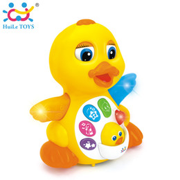 Wholesale battery operated toy animals - Free shipping Electric Rocking Rhubarb Duck Electric Universal Puzzle Animal Toys Pet Toys Music for Children