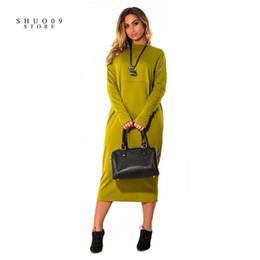 551e85bdb4 2018 Vestido de mujer de nueva moda más el tamaño de manga larga de color sólido  vestido de cuello O Casual grasa MM recta suelta cómoda