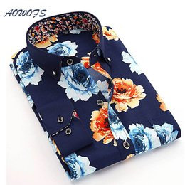 3fd674bbf59 AOWOFS Mens Floral Shirts Chinese Style Flowers Shirts Men Long Sleeve 2017  Spring Men Brand Clothes Cheap Camisas Masculina D18102301