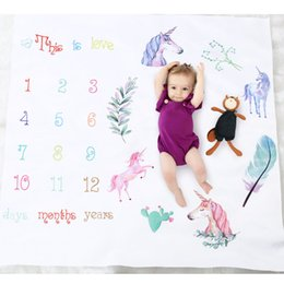 Wholesale Photo Props Blanket - Newborn Unicorn Photography Blankets Wrap Background Props Baby Photo Prop Backdrops Easter Infant Letter Ins Soft Blanket New 16 Styles