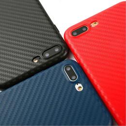 Iphone preto de carbono on-line-Fibra De carbono Preto Azul Vermelho 360 Macio TPU Silicone phone case capa fundas coque para iphone 6 s 7 7 plus 6 s 6 mais 8 8 mais