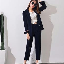 Wholesale Elegant Casual Pants Suits - Wholesale-2017 New Formal Suits for Women Casual Office Business Suitspants Work Wear Sets Uniform Styles Elegant Pant Suits J17CT0006