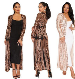 Wholesale Long Beach Cover Up Dresses - SLY-590 women cardigan coat Fashion sexy sequins Bikini Blouse Beach Cover Up Long sleeves casual party work for bodycon maxi Dresses
