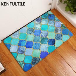 2019 begrüßungsmuster Flur-Fußmatte-buntes geometrisches Muster-Druckboden-Teppich-Küchen-Badezimmer-Teppich-Matten Hauptwillkommens-Eintritts-Wolldecken rabatt begrüßungsmuster
