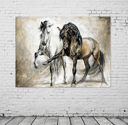 Wholesale modern dance oil painting - UNFRAMED Retro nostalgia brown horse horse dance original living room VINTAGE home decor Modern animal oil painting on canvas wall art paint