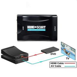 Convertidor av out online-HDMI al adaptador convertidor AV de Scart HDMI in Scart out admite hasta 1080P / 60hz entrada HDMI (video + audio admitido sobre scart)