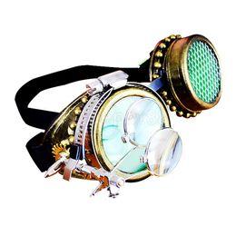 Античный Золото Стимпанк Очки Очки Зеленый Увеличительное Объектив Декоративные cheap magnify lens от Поставщики увеличительная линза