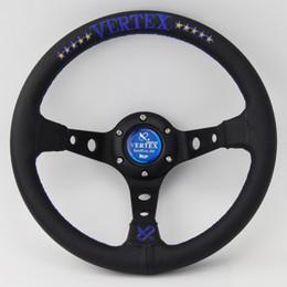 Wholesale Racing Performance - Cheap Blue Vertex 320mm Leather Steering Wheel Deep Dish Car Racing Performance Tuning Sports Steering Wheel Universal