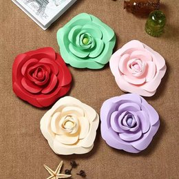Wholesale paper rose flowers - Artificial DIY Paper Flower 20CM 30CM 40CM Fake Simulation Rose Flowers Bedroom Wall Wedding Party Decoration New 35zt C