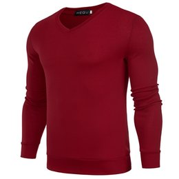 Wholesale Wholesale Mens Sweaters - Solid Color Pullover Men V Neck Sweater Men Long Sleeve Mens Sweaters 4 Colors Casual Tops Brand Thin Knitwear Pullovers