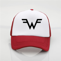 ball trends Promo Codes - fashion hat Weezer band printing net cap baseball cap Men and women Summer Trend Cap New Youth Joker sun hat Beach Visor hat