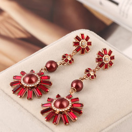 Wholesale Roses Chandelier - 2018 Top brass material Brand name red Pearl beads in 8cm dangle stud Earring 18k rose gold plated women jewelry red color free shipping PS