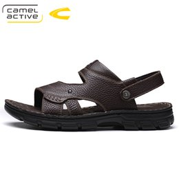 Wholesale Tie Head Bands - Camel Active Summer 2018 New Mens Sandals Genuine Leather Elastic band Round Head Sandals Comfort Breathable Antiskid