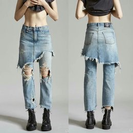 Lange hosenröcke online-Spring Summer Women Hip Hop Fake Two Piece Denim Long Pants Skirt Female Broken Hole Ripped Washed Slim Irregular Jeans Trouses