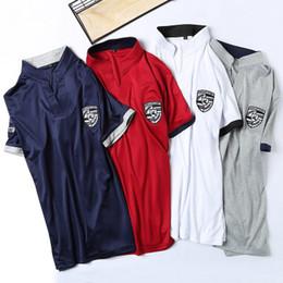 2019 projetos de pescoço polo Design de luxo de verão polo camisa com calças curtas agasalho 6xl gola v camiseta top roupas 2 pcs set projetos de pescoço polo barato