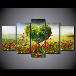 alberi dipinti d'amore Sconti 5 Pezzo Tela Arte HD Stampa Home Decor albero petali amore Dipinti Per Soggiorno Poster Da Parete Immagine Spedizione Gratuita UP-2334B