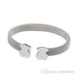 Wholesale hottest ring - TL Silver Plated Stainless Steel Bear Bangle Bracelet 316L Hot Selling Classic Style Never Fade Gift