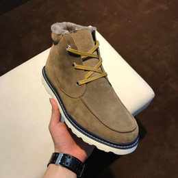 Wholesale Boot Shoe Brush - Lace-Up Snow ankle boots Brushed Men's Casual shoes High top Flats Solid slip-on warm Boots Round Toes In elevator outdoor sport shoes Ug
