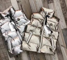 chalecos largos Rebajas Nueva gama alta de los niños y niñas grueso chaleco de la chaqueta larga de pato blanco abajo del chaleco de la cremallera de los niños del bebé de plata del espacio