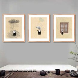 Wholesale People Oil Painting Canvas - 3 paintings Nordic home decoration cartoon black people wallpaper home decoration home and garden fashion wallpaper art painting
