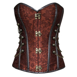 cf24233f85 Women s Brocade Buckle Steampunk Gothic Punk Faux Leather Steel Boned Corset  with Chain Plus Size Waist Training Corsets S-6XL