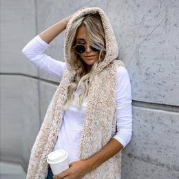 Wholesale White Women Fur Vest Faux - Women's Winter Warm Hooded Waistcoat Vest Outwear Casual Coat Faux Fur Zip Up Sherpa Jacket Chaleco Mujer