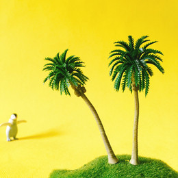 Wholesale Wholesale Miniature Craft Trees - 12 Pcs  artificial coconut trees miniatures cute plants fairy garden moss terrarium decor crafts bonsai diy supplies