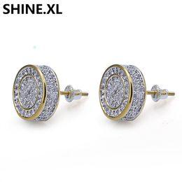 Argent Sterling 925 glacé CZ Premium Diamant Grappe Zircone Ronde Vis En Arrière Boucle D'oreille pour Hommes Hip Hop Bijoux ? partir de fabricateur