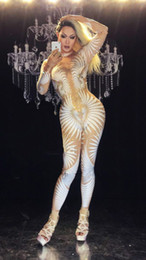 Wholesale Stage Sexy Outfits - Women Sexy White Nude Rhinestone Jumpsuit Female Singer Sexy Stage Wear Bodysuit One-piece Costume Glisten Stones Stretch Outfit