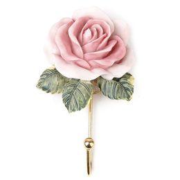 Wholesale Wall Mounted Towel - 2 x Lovely Resin Coat Hat Robe Towel Hook Hanger Wall Mounted Rose Flower