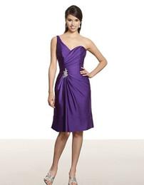 Satin face longueur au genou livraison gratuite A-ligne une épaule dos ouvert taille asymétrique perlée robe de demoiselle d'honneur médaillon ? partir de fabricateur
