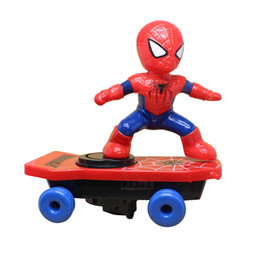 Wholesale model cars 18 - 1:18 Spiderman Scooter Hoverboard NON Remote Fighter Marvel Action Figure Lights Led Collectible Model Car Juguetes Xmas Kids Gifts Toys Red