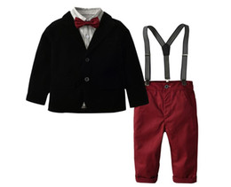 baby brace suit Coupons - Boy Western style Clothes + T-shirt and Pants + Braces + Bow Tie Set Baby Spring and Autumn Suspenders Suit Kids Five Pieces Suit XAM 008